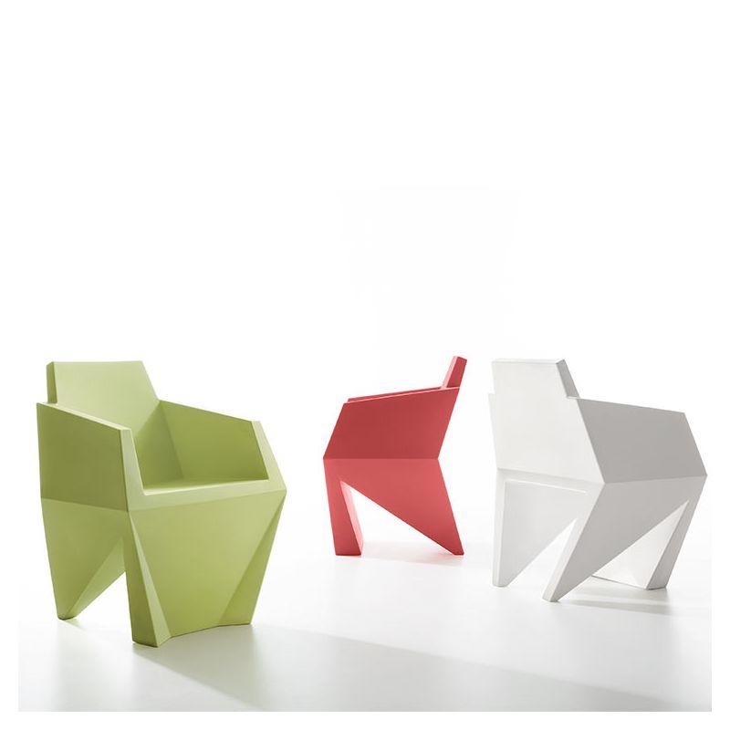 Fauteuils design GEMMA B-Line, coloris vert pastel, corail et blanc
