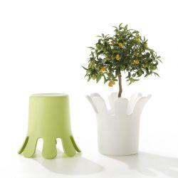 Tabouret vert SPLASH B-Line et modèle blanc utilisé en pot