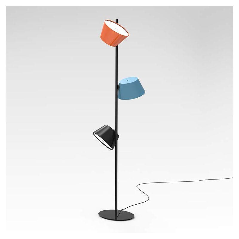 Lampe de sol TAM TAM P3 Marset, abat-jour Orange Bleu Noir