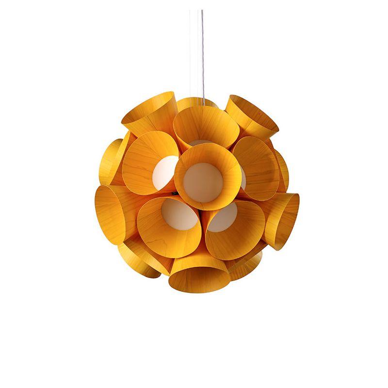 Suspension LED DANDELION LZF, finition hêtre jaune