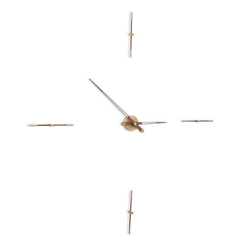 Horloge contemporaine or et noyer MERLIN G Nomon, 4 repères horaires