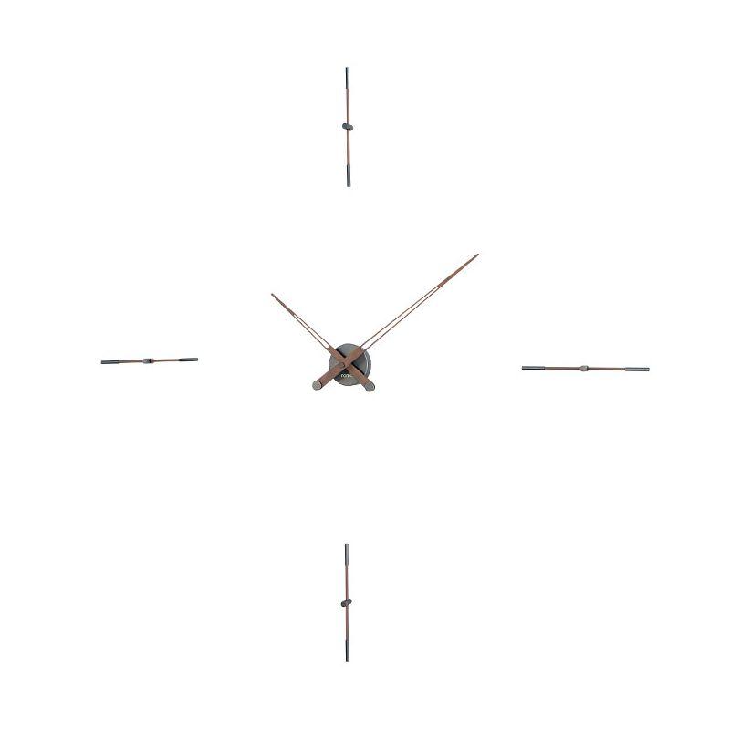 Horloge design MERLIN T graphite et noyer Nomon, 4 repères horaires