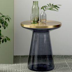 Table d'appoint design FIGURE Teo verre et acier