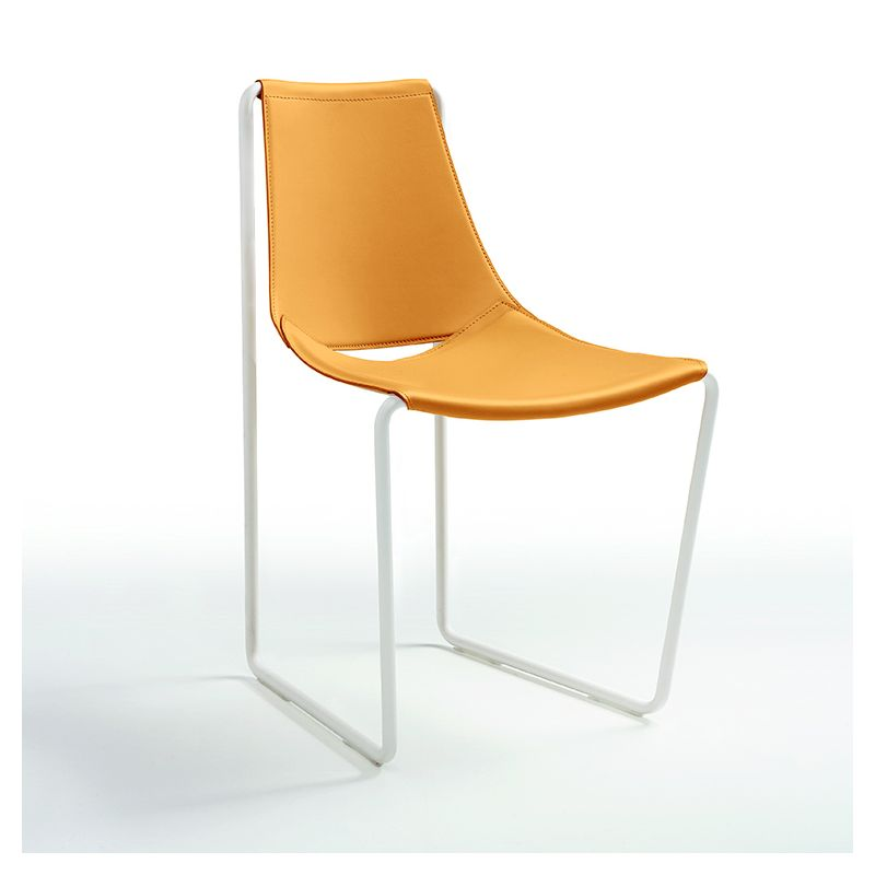Chaise cuir APELLE S Midj, pieds blancs, ocre U22