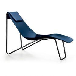 Chaise longue cuir APELLE CL Midj, pieds laqué noir, bleu océan U67