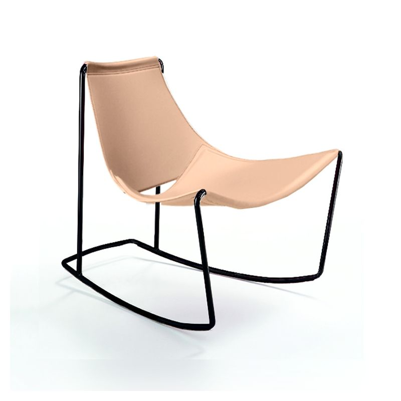 Rocking-chair cuir APELLE DN Midj, pieds noirs, fond de teint U64