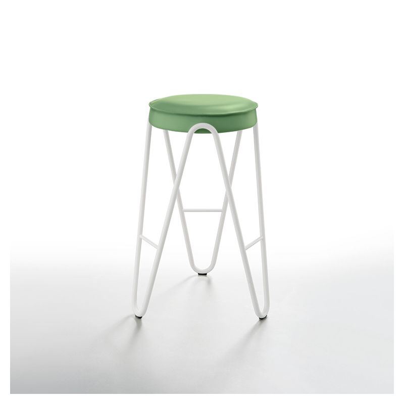 Tabouret haut APELLE JUMP  Midj, hauteur 65 cm, pieds blancs, vert sauge U69