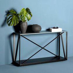 Console BEAM 120 cm Kendo, structure noire, plateau chêne toasté