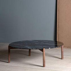 Table basse noyer massif LOTTA Kendo, plateau marbre noir