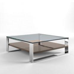 Table basse carrée SOLEO Kendo, structure chomée, étagère laque brillante taupe