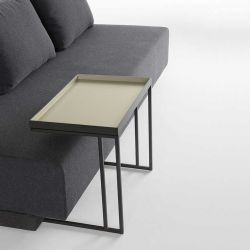 Table d'appoint TRAY Kendo, structure graphite, plateau sable