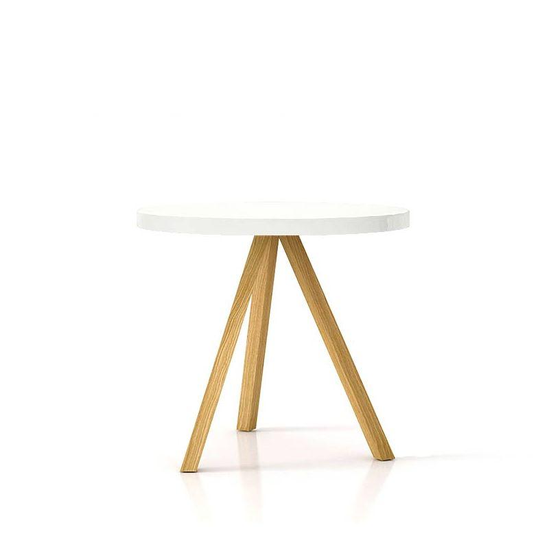 Table repas ronde chêne massif super mat FLAK Punt, plateau blanc