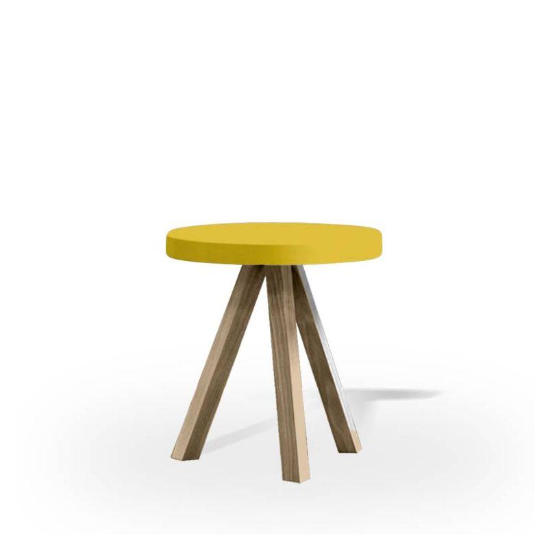 Table d'appoint chêne massif teinté gris Sienne FLAK Punt, plateau moutarde