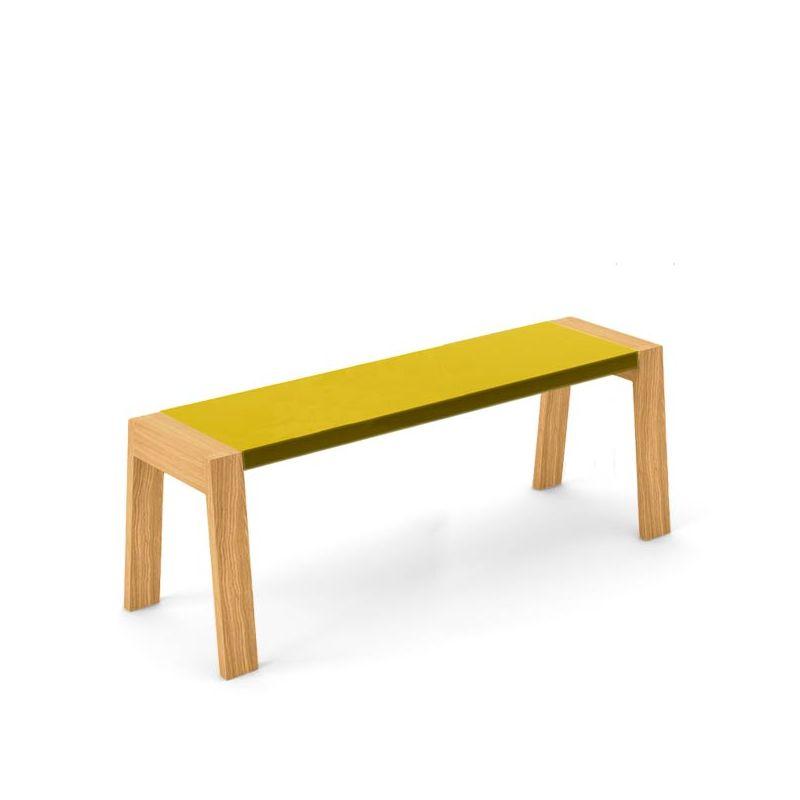 Banc design 120 cm chêne super mat FLAK Punt, coloris moutarde