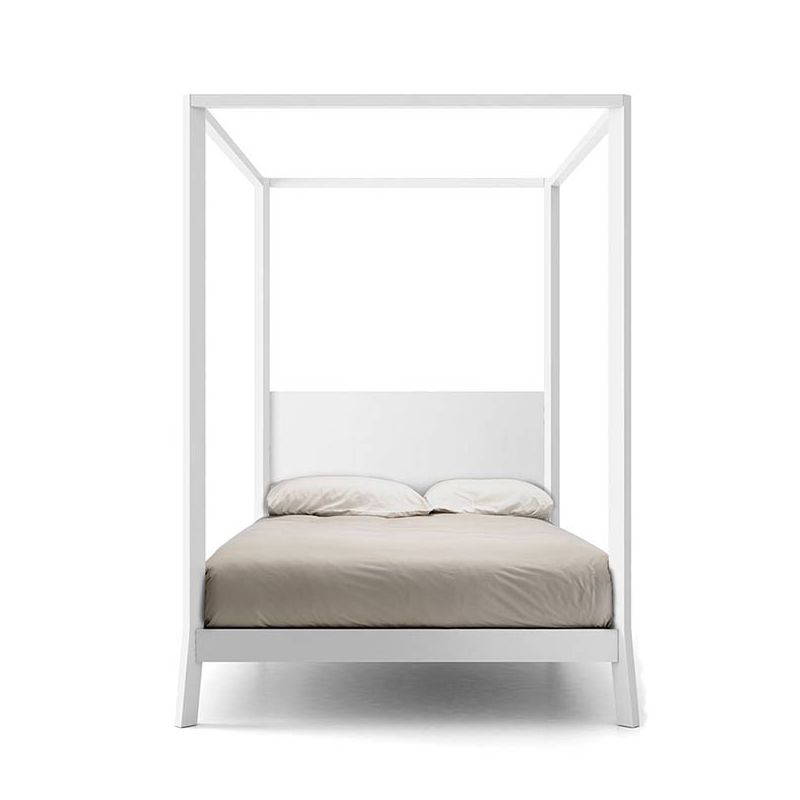 Lit baldaquin 140x200 en chêne massif laqué blanc  BREDA Punt, tête de lit chêne laqué blanc