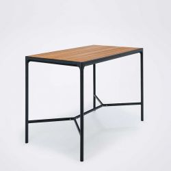 Table haute 160 x 90 en bambou & aluminium noir FOUR Houe