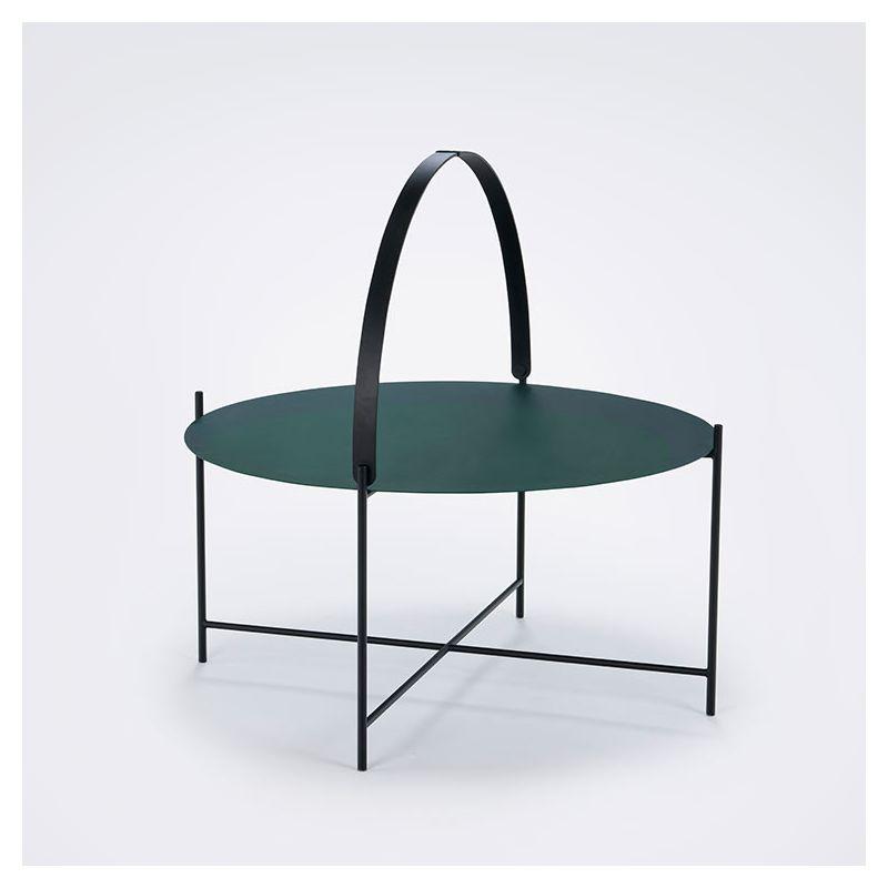 Table basse ronde vert pin Ø76 EDGE Houe, anse levée