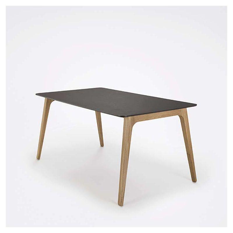 Table design 168 x 95 pieds chêne massif & plateau linoléum GATE Houe