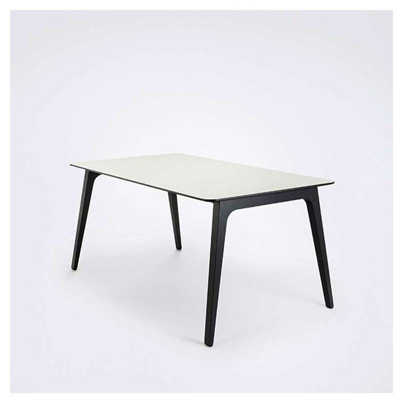 Table design 168 x 95 pieds frêne teinté noir & plateau mélaminé blanc GATE Houe