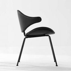 Fauteuil design en métal & cuir noir ACURA Houe