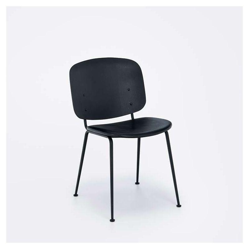 Chaise design bois & cuir rembourrée GRAPP Houe
