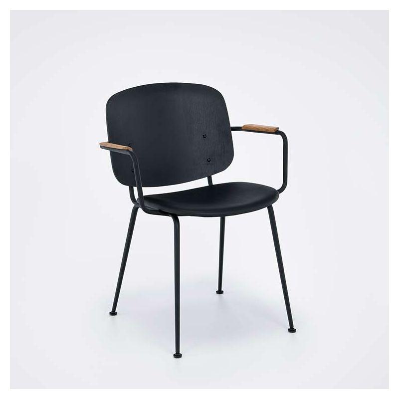 Fauteuil design bois avec assise cuir rembourré GRAPP Houe