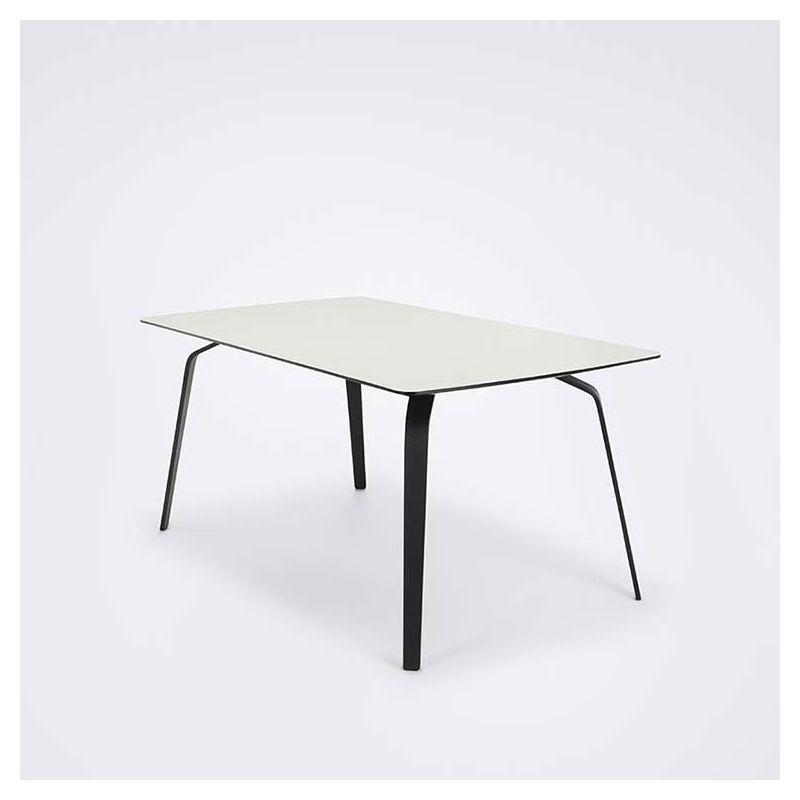 Table rectangulaire 168 x 95 cm FLOAT Houe en métal noir & mélaminé blanc