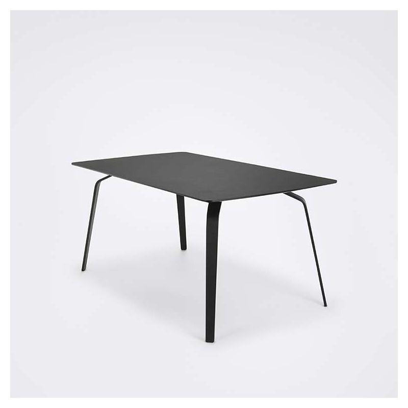 Table rectangulaire 168 x 95 cm FLOAT Houe en métal noir & linoléum noir