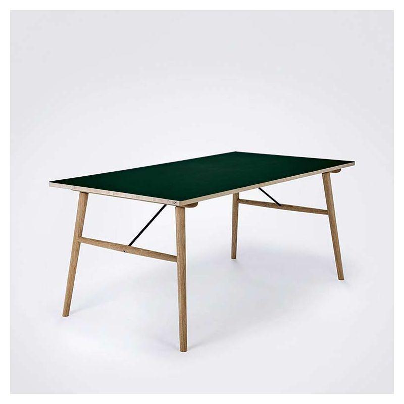 Table chêne massif HEKLA Houe, plateau linoléum vert foncé