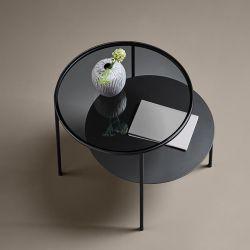 Table basse ronde DUO Woud, 1 plateau verre fumé + 1 plateau métal noir