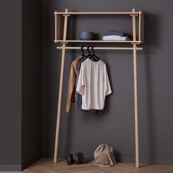 Portant rangement design en bois TÖJBOX Woud, chêne naturel, largeur 112 cm