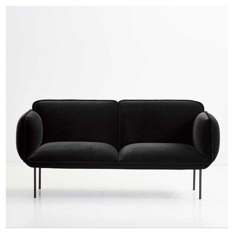 Canapé 2 places velours noir NAKKI Woud