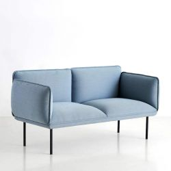 Canapé 2 places tissu bleu ciel NAKKI Woud