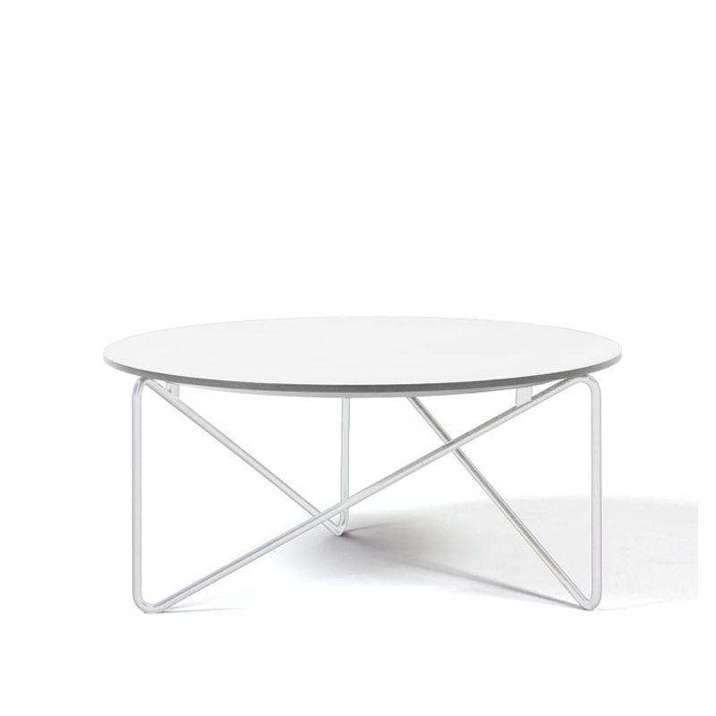 Table basse de salon POLYGON Prostoria, pied blanc et plateau blanc