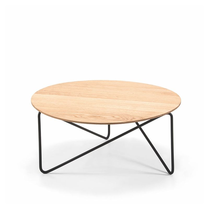 Polygon Table Basse Ronde Prostoria Bois Et Metal