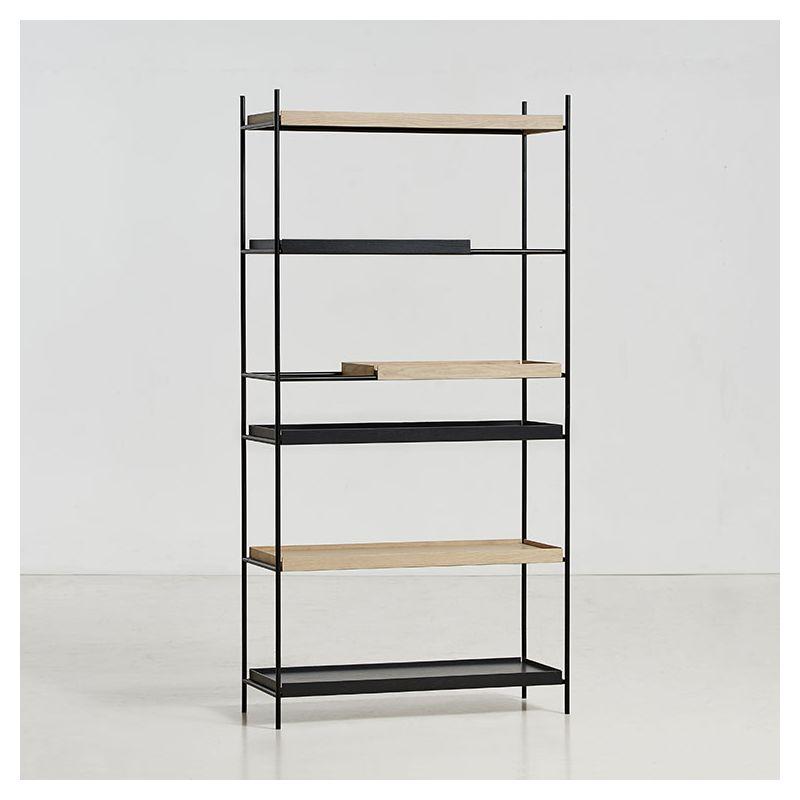 Étagère haute TRAY Woud, 2 grandes étagères + 1 petite chêne teinté noir, 2 grandes étagères + 1 petite chêne blanchi (compo 1)