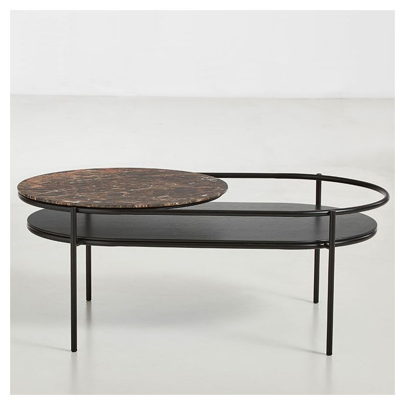 Table salon ovale VERDE Woud, plateau marbre brun