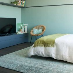 Tapis laine et bambou STONE coloris céladon Toulemonde Bochart