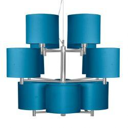 Chandelier 12 branches BONN abat-jours droits h 15 cm turquoise It's About Romi