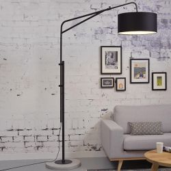 Lampadaire métal noir BRIGHTON It's About Romi, abat-jour 47 x 23 coloris noir