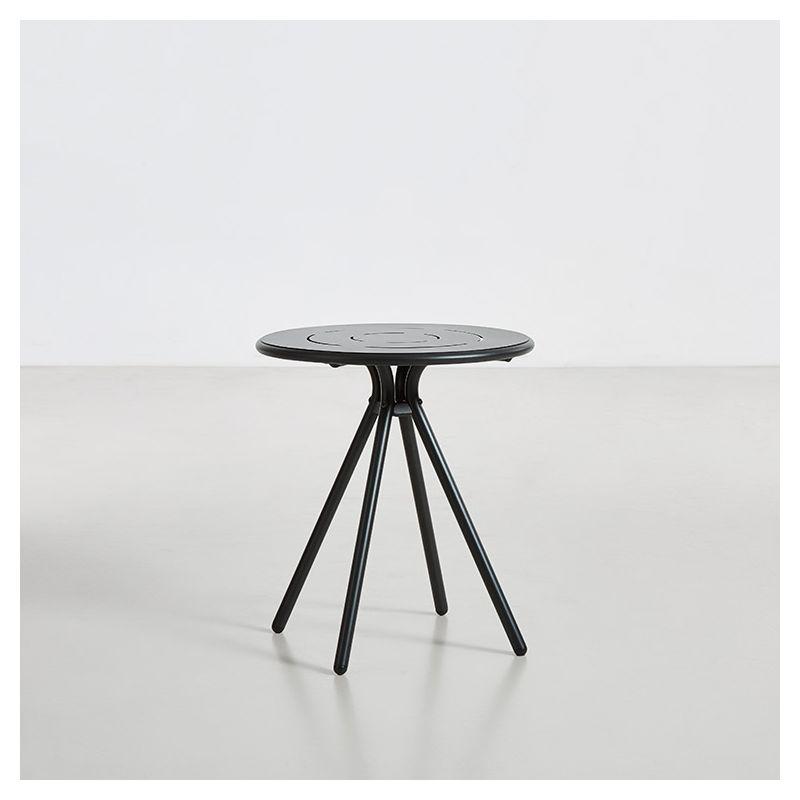 Table de jardin ronde RAY CAFE Woud, coloris noir