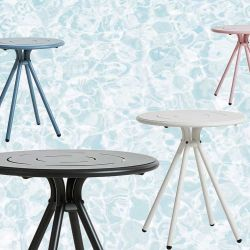 Tables de jardin rondes RAY CAFE Woud, coloris charbon, blanc, bleu et rose