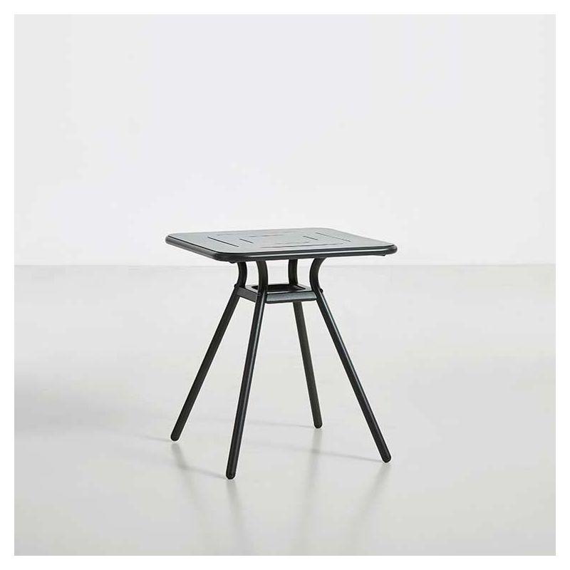 Table de jardin carrée RAY CAFE Woud, coloris charbon