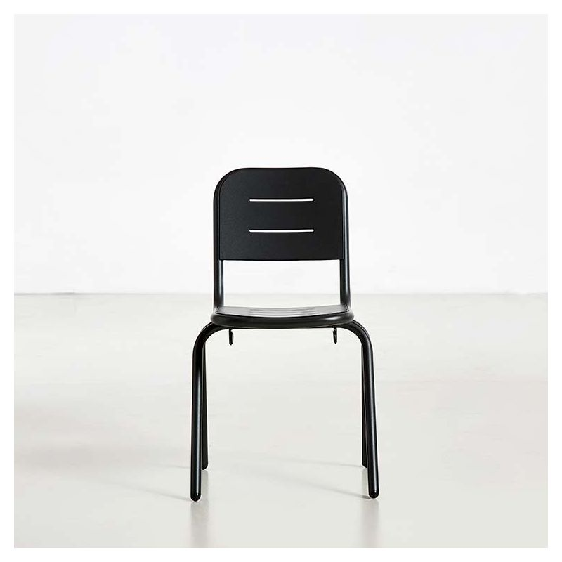 Chaise de jardin noir charbon RAY CAFE Woud