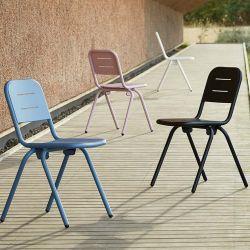 Chaises de jardin RAY CAFE Woud, bleue, charbon, rose et blanche