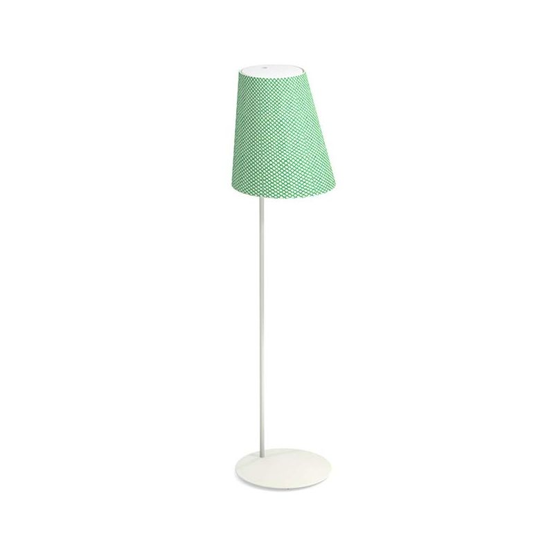 Lampadaire extérieur sans fil CONE Emu, pied blanc et abat-jour résille verte