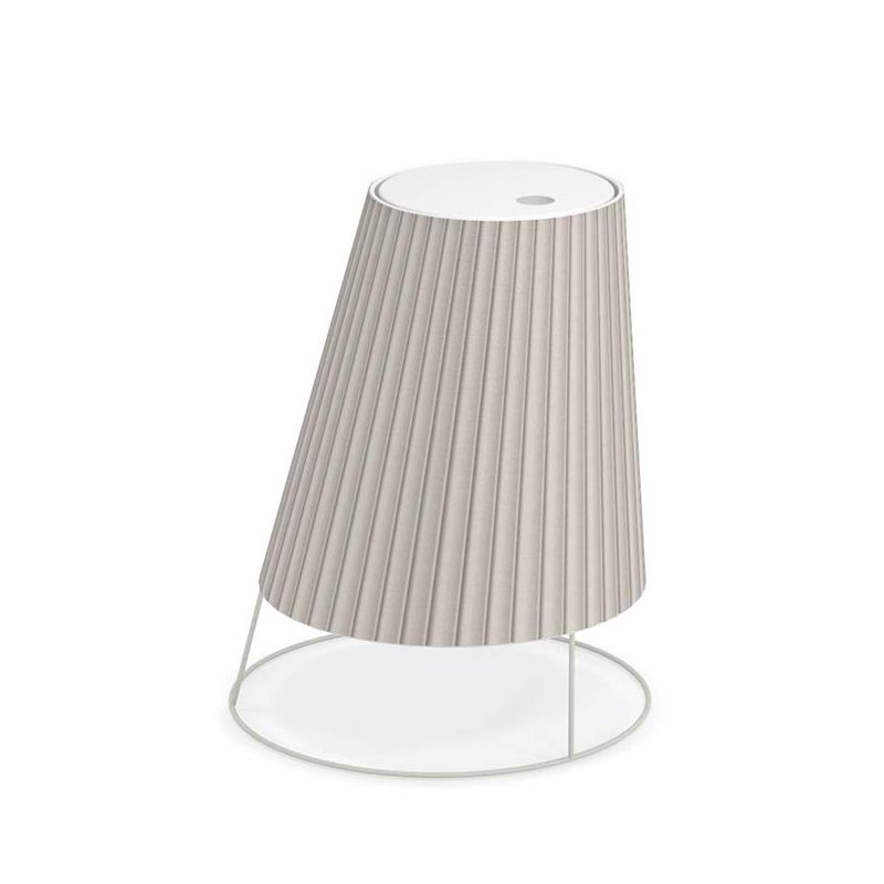 Lampe extérieur LED sans fil CONE BIG Emu, abat-jour plissé écru