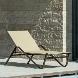Bain de soleil aluminium dossier inclinable 4 positions HOLLY Emu, coloris marron d'Inde