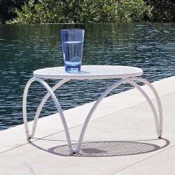 Table basse de jardin métal VERA Emu blanche