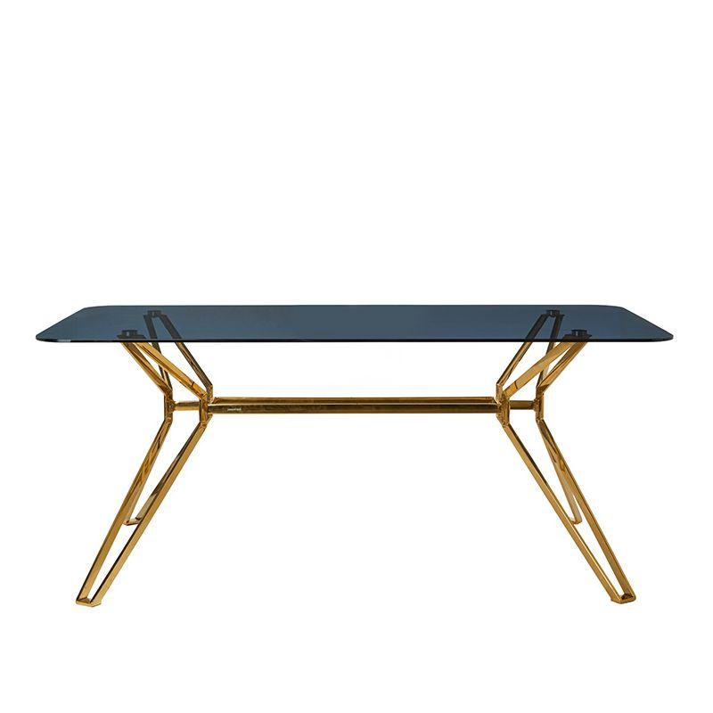Table rectangulaire verre fumé GLASS Pols Potten, pied doré
